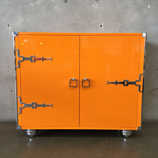 Italian Design Hollywood Regency Glam Lacquered Orange Cabinet