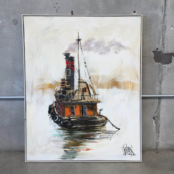 Lee Reynolds Signed Tug Boat Painting Urbanamericana