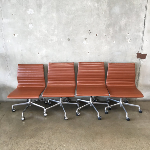 Set of Four Herman Miller for Eames Aluminum Armless Office Chairs