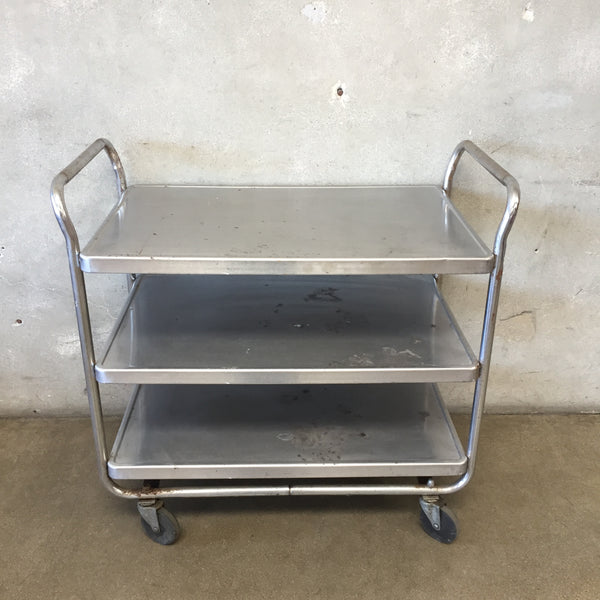 Vintage Industrial Stainless Utility/Bar Cart