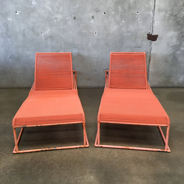 Pair of Vintage Mid Century Orange Patio Lounge Chairs