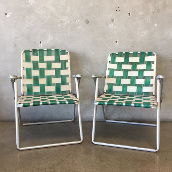 Pair of Vintage Green & White Fold Out Chairs