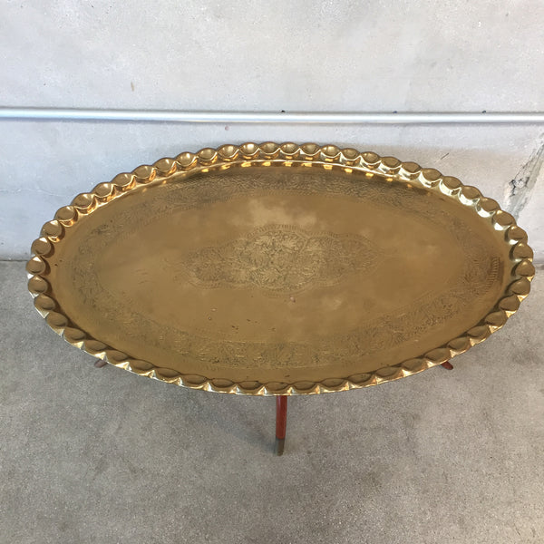 Vintage Brass Tray Table With Teak Spider Leg Base