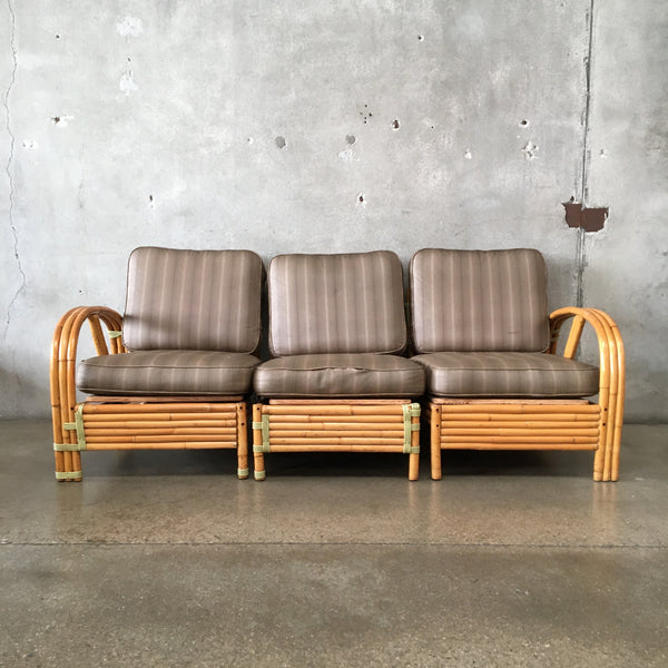 Three Piece Vintage Bamboo Sofa