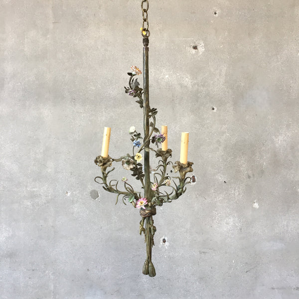 Antique French Bronze & Porcelain Flower Candle Light Fixture