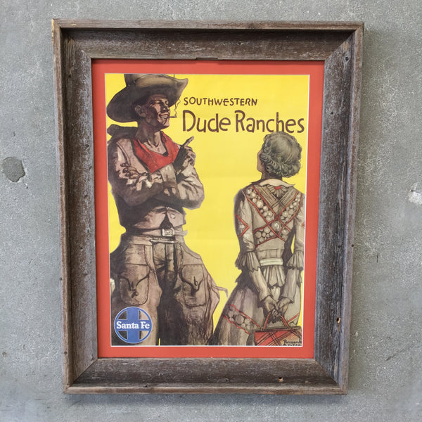 "1940's Santa Fe Railroad ""Dude Ranch"" Poster"