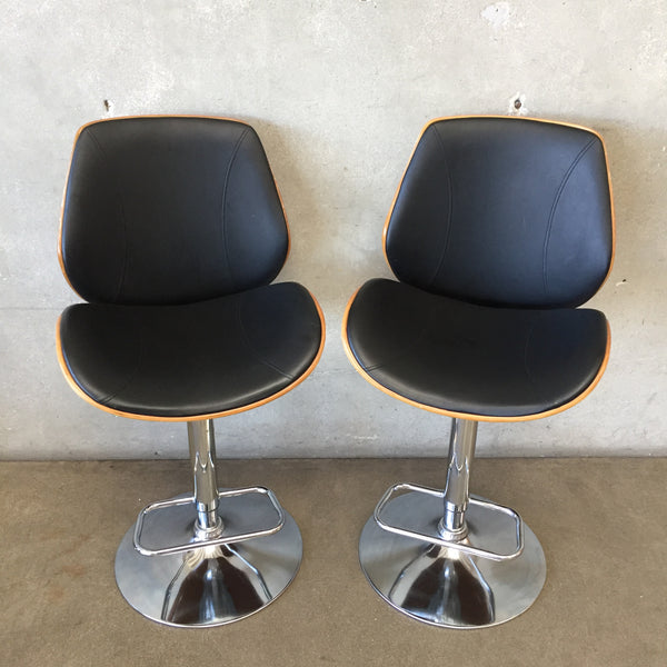 Set of Two Bent Plywood Chrome Bar Stool