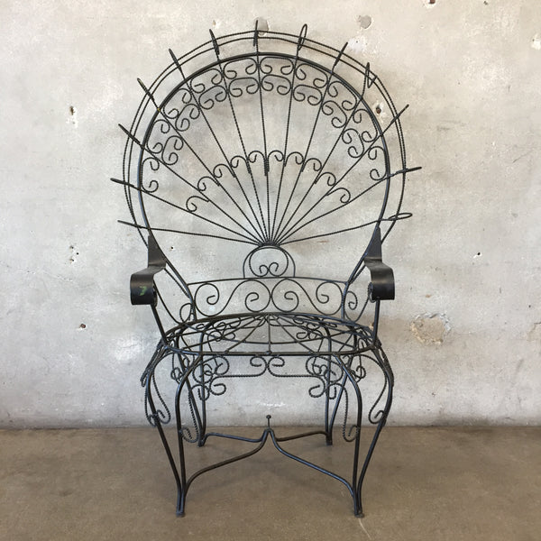 Vintage Black Metal Peacock Chair