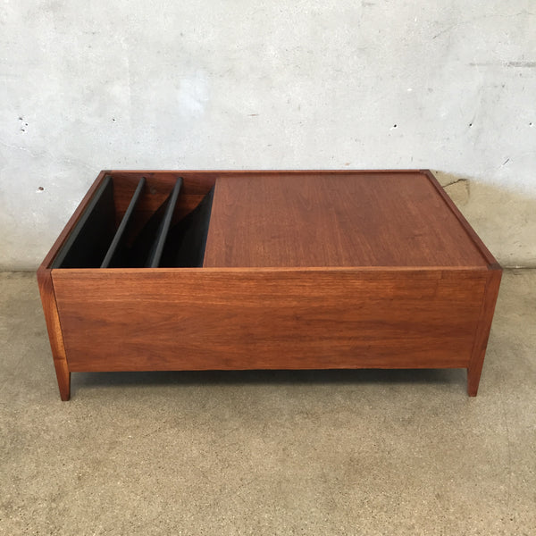 Vintage Mid Century Walnut Coffee Table & Built in Magazine Rack