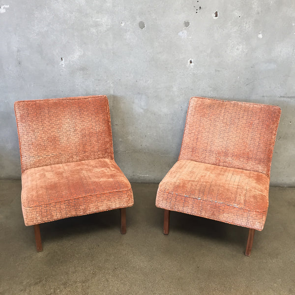 Pair of Mid Century Orange Chairs