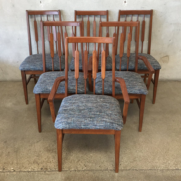 Set of Six Mid Century Walnut Dining Chairs