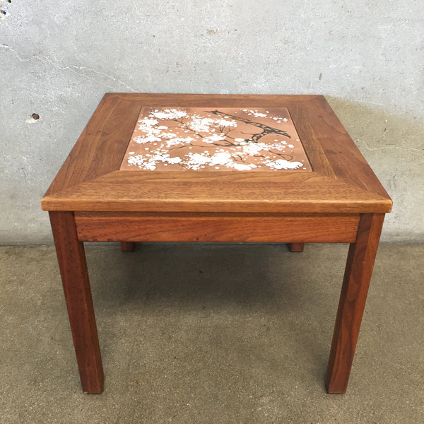 Mid Century Brown Saltman Enamel Orange Copper Table