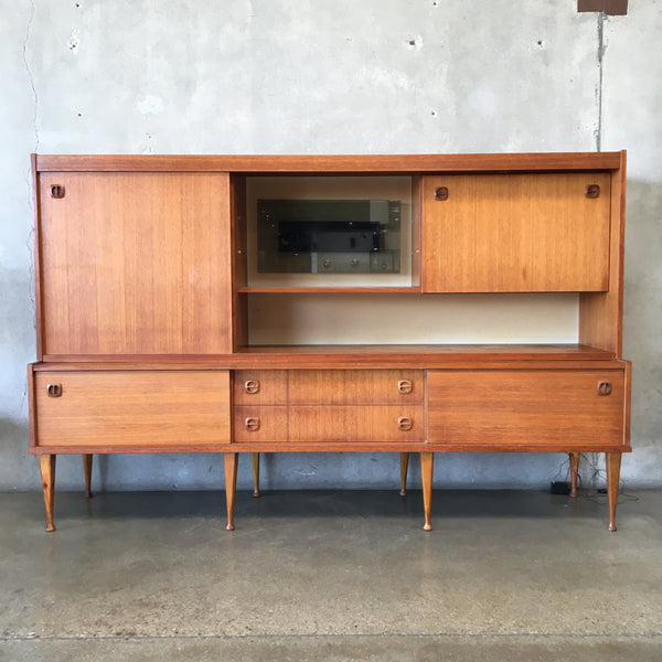 Teak Mid Century Sideboard Wall Unit with Sliding Doors