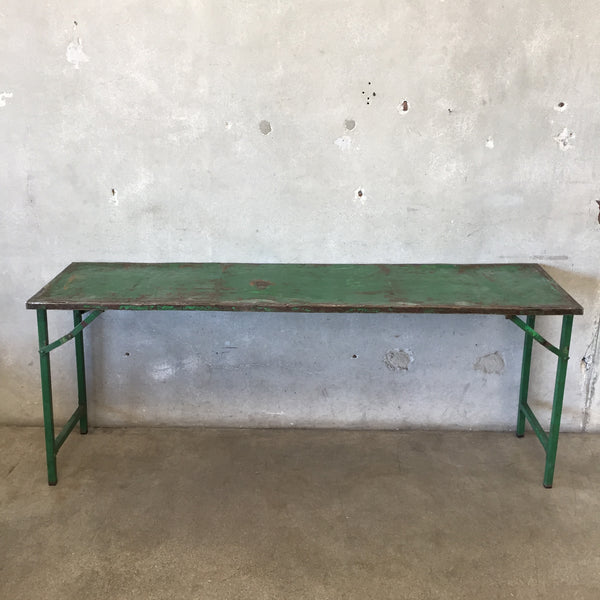 Vintage European Green Metal Display Table