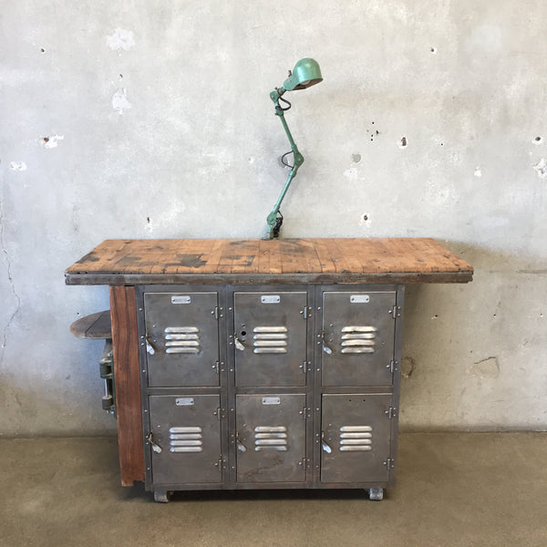 Stripped Steel Locker Stand With Light & Stool