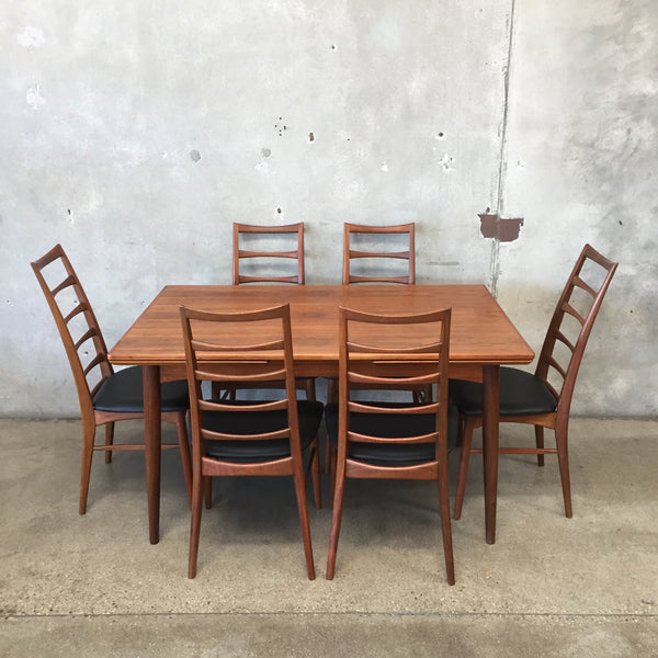 Vintage Mid Century Danish Dining Set with Niels Koefoed Chairs