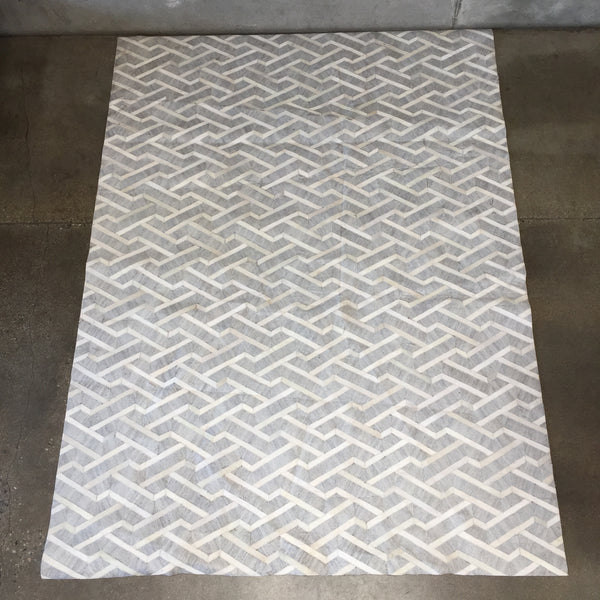 Cowhide & Cotton Rug with Chevron Pattern