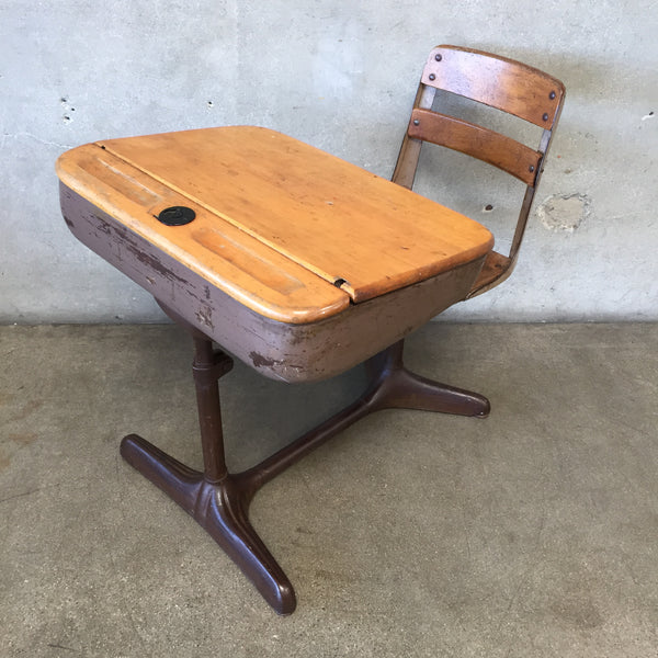 Vintage Wood & Metal School Desk