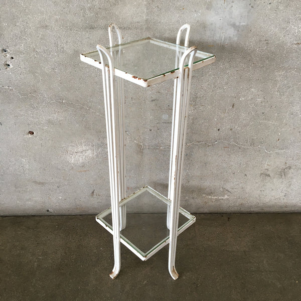 White Vintage Metal Stand with Glass Top