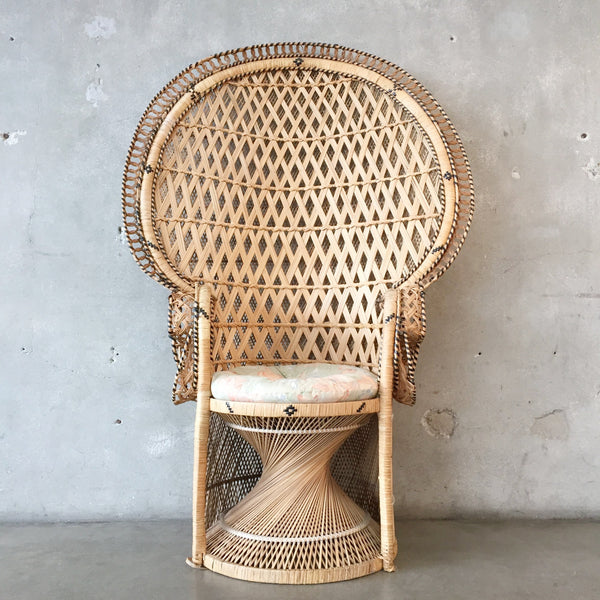 Large Vintage 1970's Rattan Peacock Chair