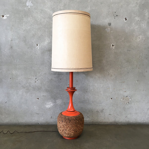 Mid Century Orange Cork Table Lamp