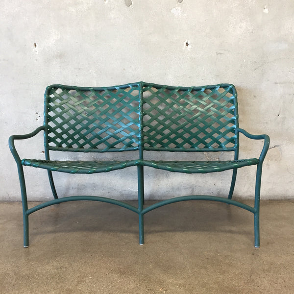 Vintage Brown Jordan Green Patio Bench