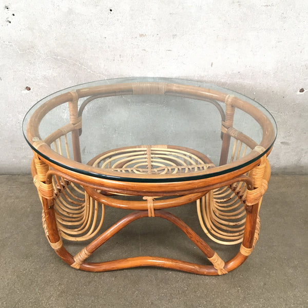 Vintage Rattan & Glass Side Table