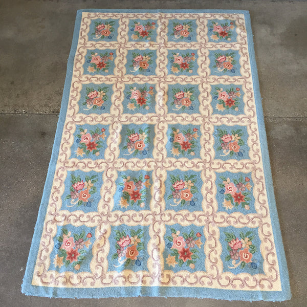 1940's Cotton Hooked Rug