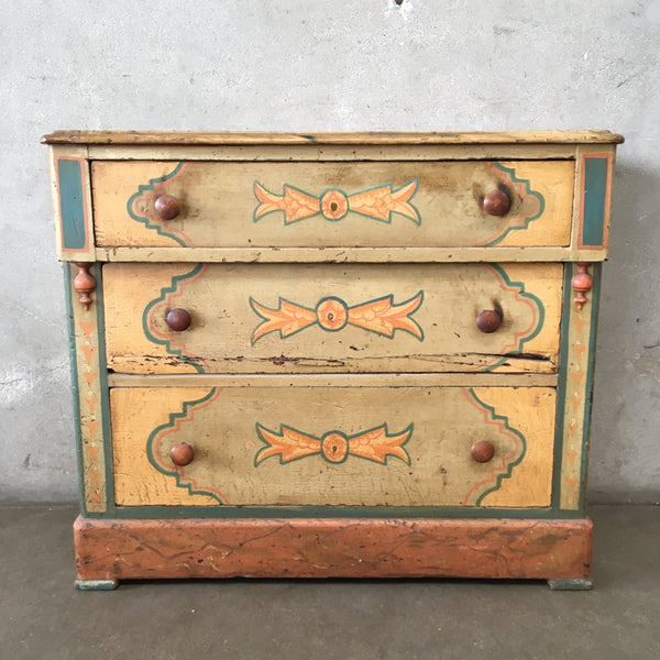Vintage Monterey Style Three Drawer Painted Chest