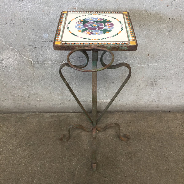 Antique Tile Top Garden Table