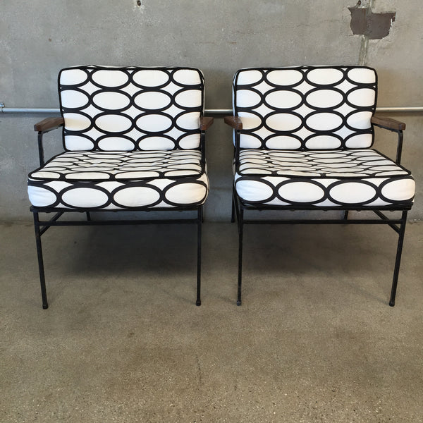 Mid Century Pair of Iron Lounge Chairs
