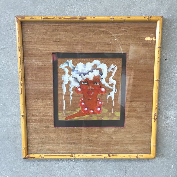 Framed Painting of Face on Sisal