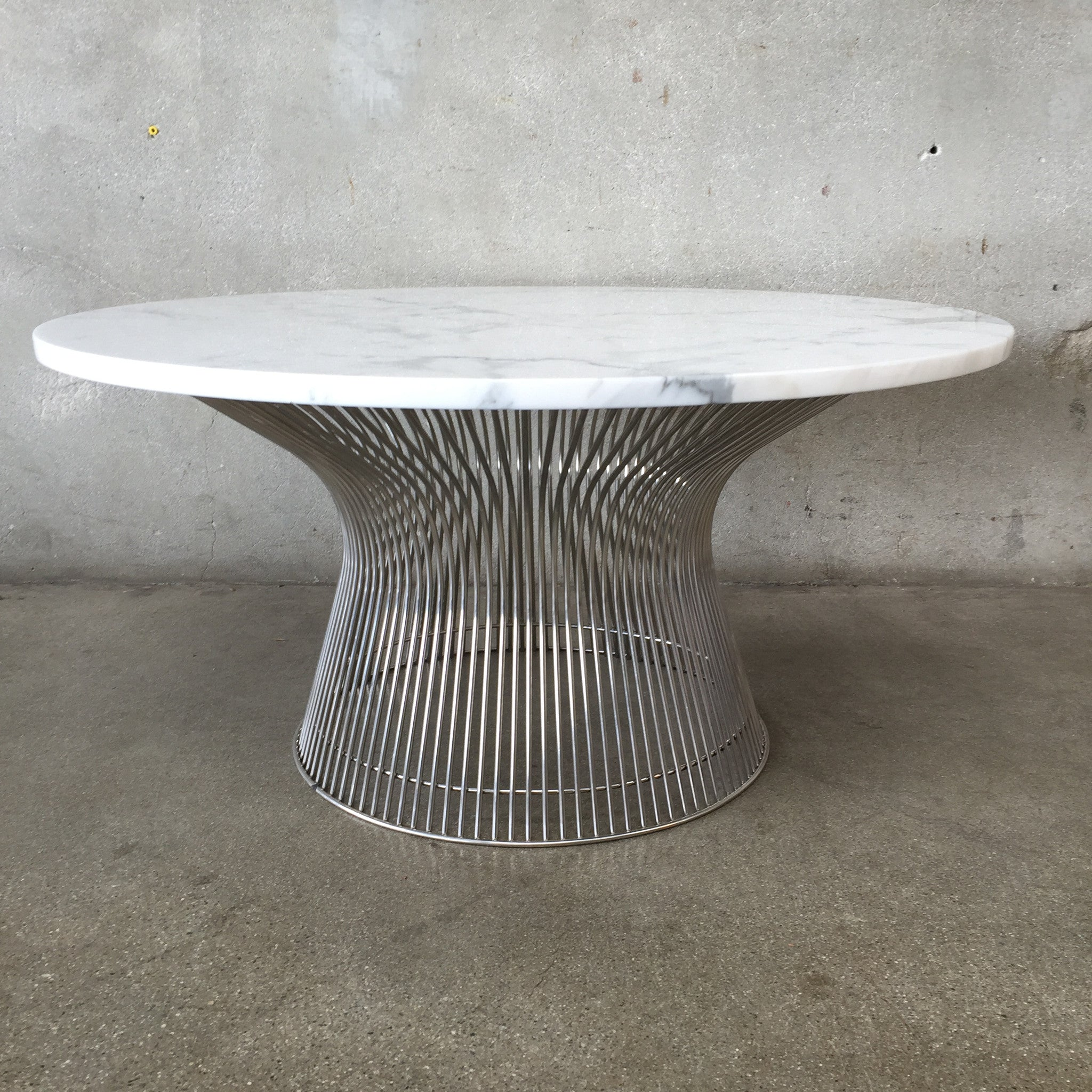 Marble Top Wire Coffee Table: Mid Century Marble Top Bertoia Wire Coffee Table