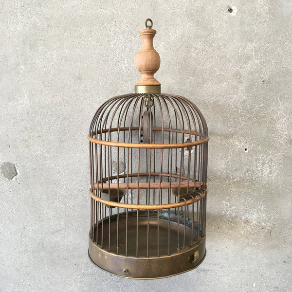 Vintage Brass & Wood Bird Cage