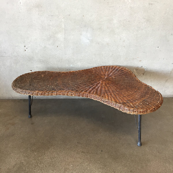 Vintage Mid Century Modern Wicker Coffee Table
