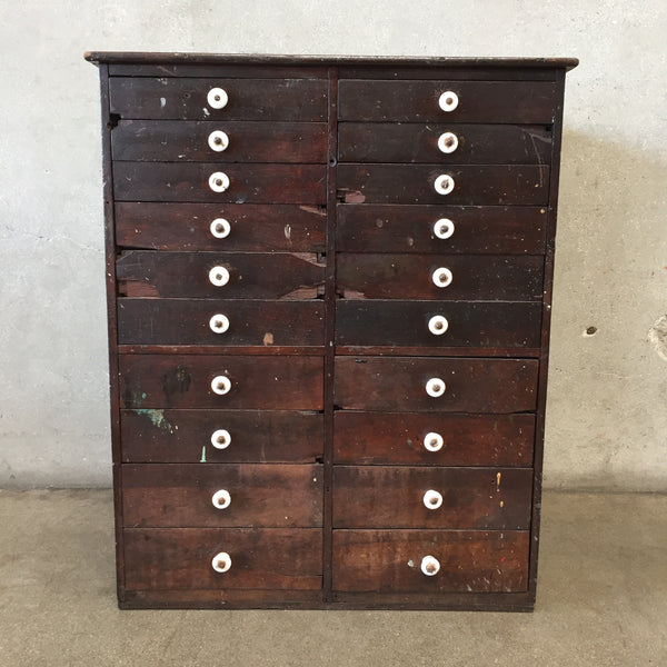 Vintage Industrial Wood Drawer Cabinet