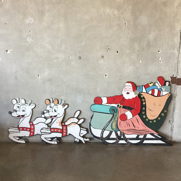 Vintage Santa and Reindeer Holiday Decor