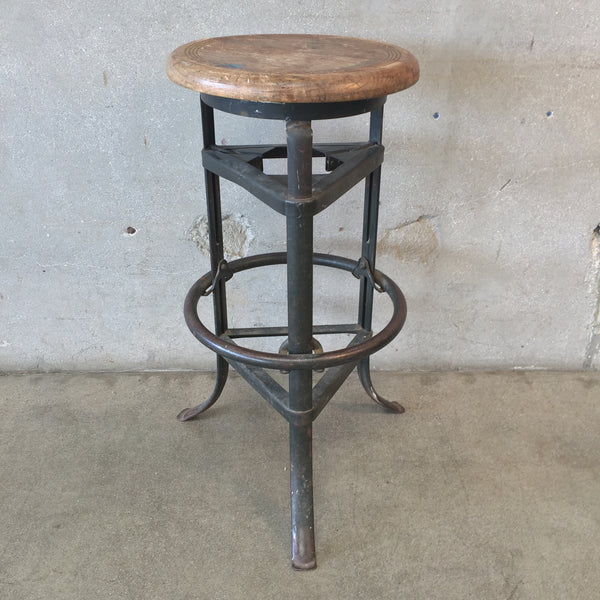 Industrial Steel & Wood Stool