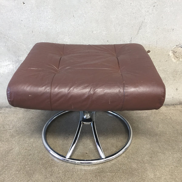 Chrome & Brown Leather Ottoman