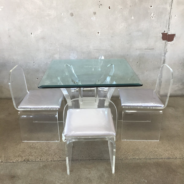 Mid Century Lucite & Glass Dining Set