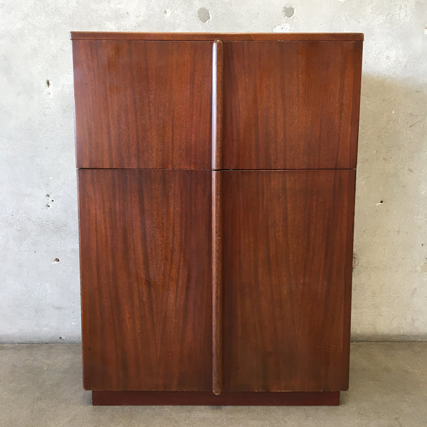Vintage Mid Century Walnut Bar with Red Interior