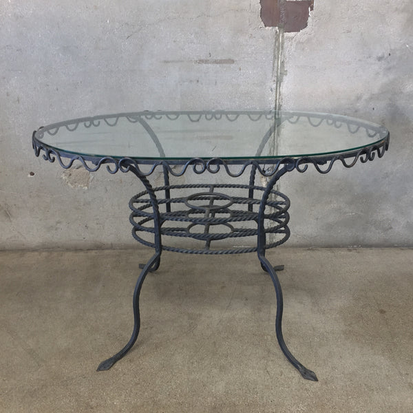 Vintage Wrought Iron & Glass Table