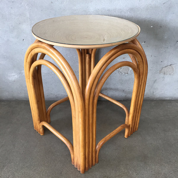 Vintage Bamboo Side Table with Glass & Rattan Top