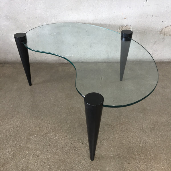 Mid Century Glass Kidney Shaped Coffee Table