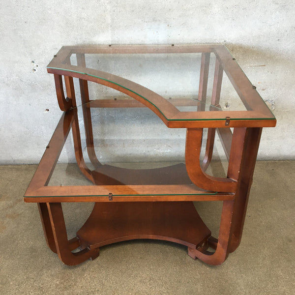 Mid Century Glass & Wood End Table