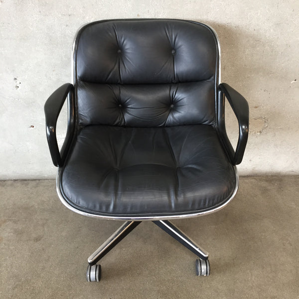 Vintage Mid Century Leather Pollock Chair by Knoll