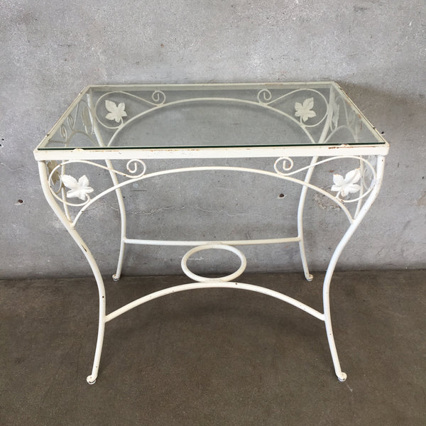 White Iron Glass Top Patio Table