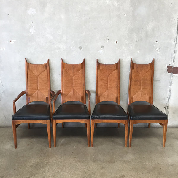 Set of Four Mid Century Cathedral Highback Rush Chairs