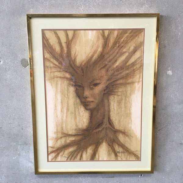 Tree Woman Enigma Litho Signed Saint Genies