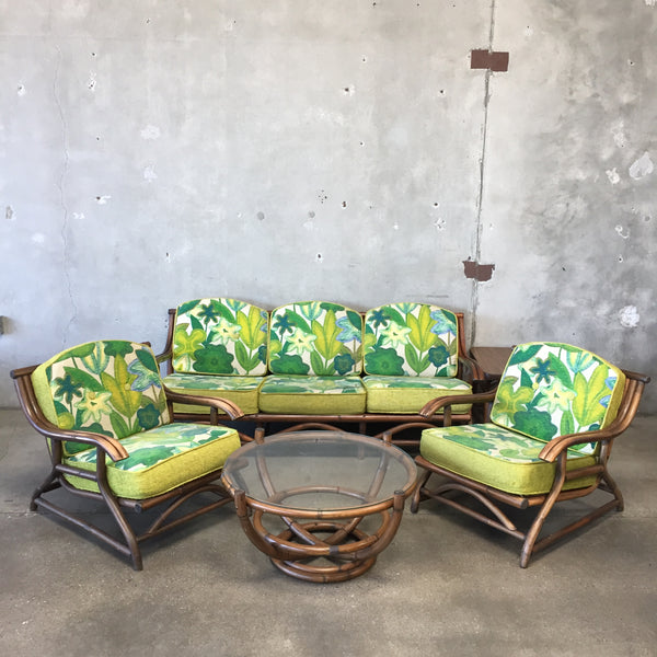 1960's Five Piece Rattan Seating Set